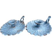 SALE Pair Blue And White Spatterware Graniteware Candle Holders
