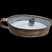 Primitive Copper Pan Candle Holder