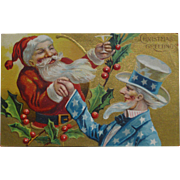 SOLD Sants And Uncle Sam 1910 Christmas Postcard