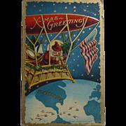 SOLD Santa American Flag Christmas Postcard