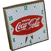 Coca Cola Fishtail Advertising Clock