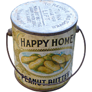 Happy Home Peanut Butter Advertising Tin Pail
