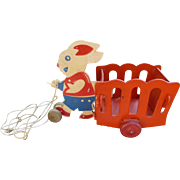 Cute Patriotic Easter Rabbit And Cart Pull Toy