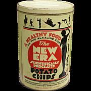 Large Old Potato Chip Tin Deco Graphics