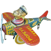 Popeye The Pilot Wind Up Tin Toy