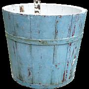Lg Wooden Sap Bucket In Old Sky Blue Paint