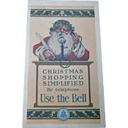 Bell System Advertising Santa Claus Trade Card