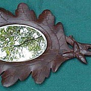 SALE Lovely And Unusual Black Forest Carved Hand Mirror