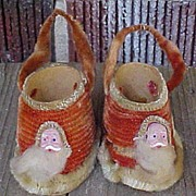 SALE Exceptional Pair Chenille Santa Shoe Christmas Candy Containers