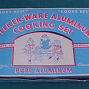 SALE Unused Vintage Child Doll Welker Ware Aluminum Cooking Set In Box