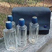 SALE Blue Enamel Top French Perfume Bottles In Original Case
