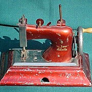 SALE Vintage Red Metal Child's Sewing Machine Made In Germany