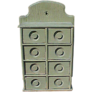 REDUCED Primitive Spice Apothecary Cabinet In Sage Green Paint