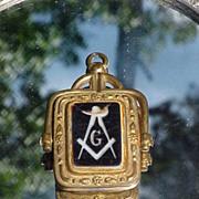 SALE Exceptional Victorian Swivel Fob W/Enamel Mason's Insignia