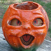 Vintage Pulp Halloween Pumpkin Lantern W/Org Fire Resistant Sticker
