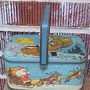 SALE Charming Christmas Santa Tindeco Tin Basket