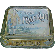 SALE Flor De Franklin Cigars Glass Advertising Change Tray
