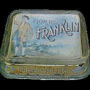 SALE Flor De Franklin Cigars Glass Advertising Change Tray