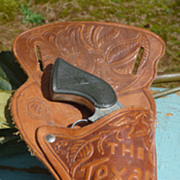 Texas Kid Cap Pistol In Tooled Leather Holster