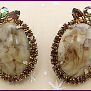 Juliana Honey Malachite Marble Earrings