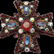 Juliana DeLizza & Elster Watermelon Gunmetal Maltese Cross Brooch
