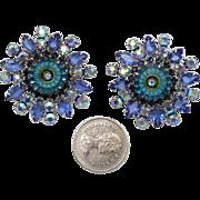 Juliana DeLizza & Elster Large Bermuda Blue Margarita Clip Earrings