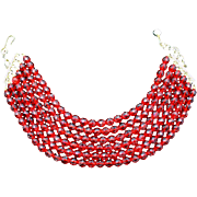 Gianni Versace Signed Siam Red Czech Crystal Six Strand Necklace - WOW!