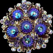 Juliana DeLizza & Elster Heliotrope Purple Margarita Round Brooch