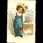SOLD Ellen Clapsaddle Vintage Patriotic postcard Girl in bibs Fourth of July Holiday
