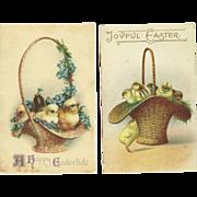 Set of 2 Lovely Vintage Easter Postcards With chicks in a basket - One Ellen Clapsaddle - FREE