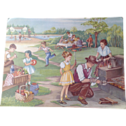 1953 Erna Karolyi 18 x 24 Teachers Easel Reading Print - The Picnic