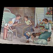 Fabulous vintage 1953 Erna Karolyi 18 x 24 Teachers Easel Reading Print - The Rabbit Cage