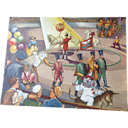 Fabulous vintage 1953 Erna Karolyi 18 x 24 Teachers Easel Reading Print - The Circus