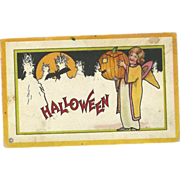 Stecher Vintage Halloween Postcard Series 90 Witch Jack O Lantern