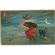 Raphael Tuck Halloween Series 150 Witch and black cat on Broom