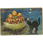 Raphael Tuck Halloween Series #150 Black Cat corners Veggie people