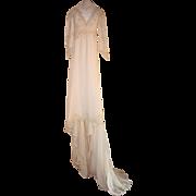 Beautiful 19th Century Silk Chiffon Wedding dress with Battenburg Lace
