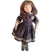 SOLD Cute 14 inch wooden Schoenhut girl  with sailor dress Doll