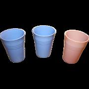 3 Vintage Blue Tumbler Set Moderntone Glass Platonite Hazel Atlas Fired On  Blue & Pink