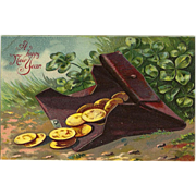 A Happy New Year Vintage postcard Coin Purse Four Leaf Clover for luck- Free US Shipping