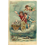 1907 Bonne Annee A French Vintage New Year Postcard with Angels delivering greetings   Free US