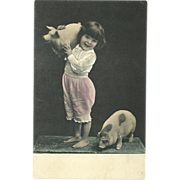 Adorable Little Girl with her pigs Hand colored Real Photo Vintage postcard