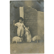 French Real Photo Little Girl posing with 3 pigs and a brick wall Fairy Tail Postcard