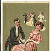 SOLD Man romancing a woman to Dance Dancing PFB Series 6180 Love Postcard