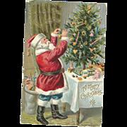 1908 P Sander Santa Claus decorates tree Christmas Postcard