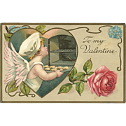 SOLD 1911 Vintage Postcard Cupid Baker making Cookies Valentine Rose