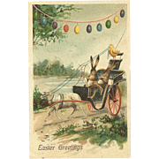 SOLD Easter Greetings Bunny Rabbits deliver eggs buggy style Lamb Eggs Vintage Postcard
