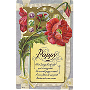 Nash Motto Series No 6 Poppy flower Consolation Memorial   - Vintage Postcard  - FREE US Shipp