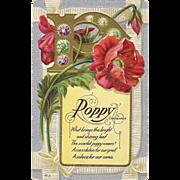 Nash Motto Series No 6 Poppy flower Consolation Memorial   - Vintage Postcard  - FREE US ...