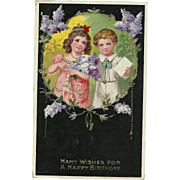 Beautiful gold gilt Gel children Lilacs Vintage postcard